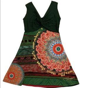 DESIGUAL Green Sleeveless Dress Sequin